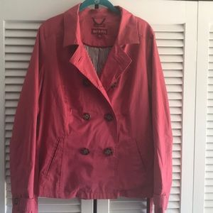 Pink trench rain jacket pea coat xl